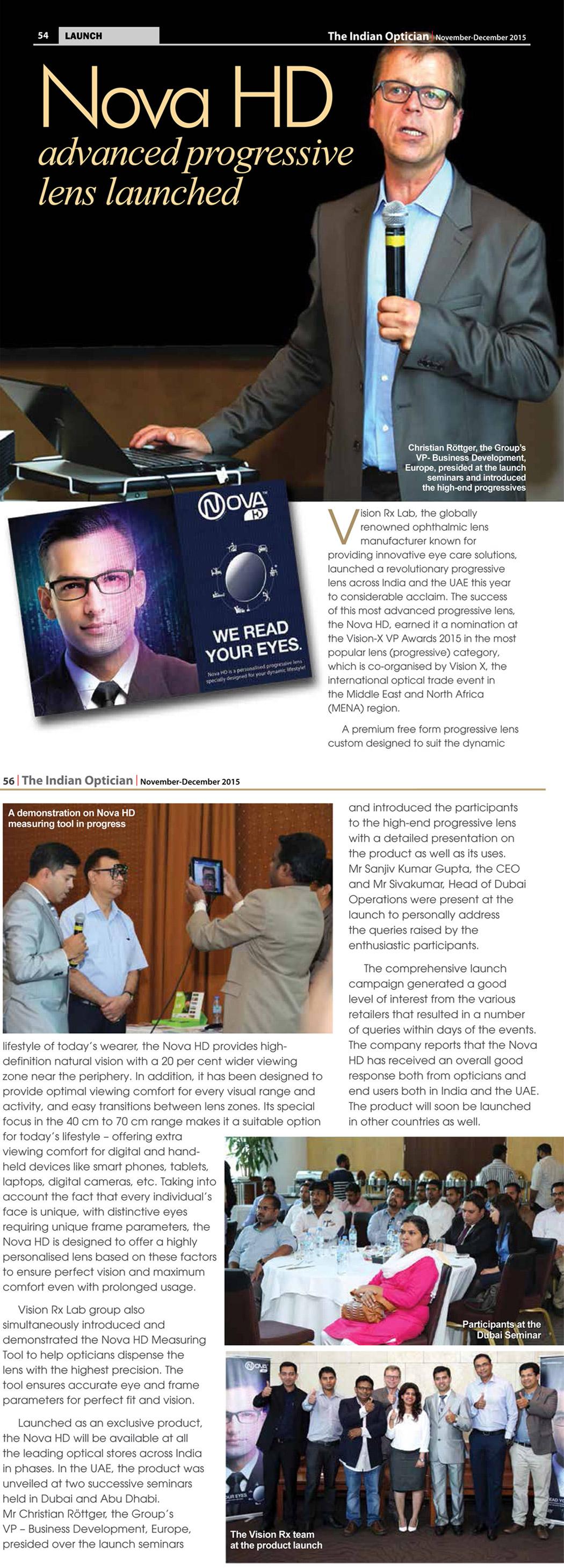 The Indian Optician covers Nova HD Launch