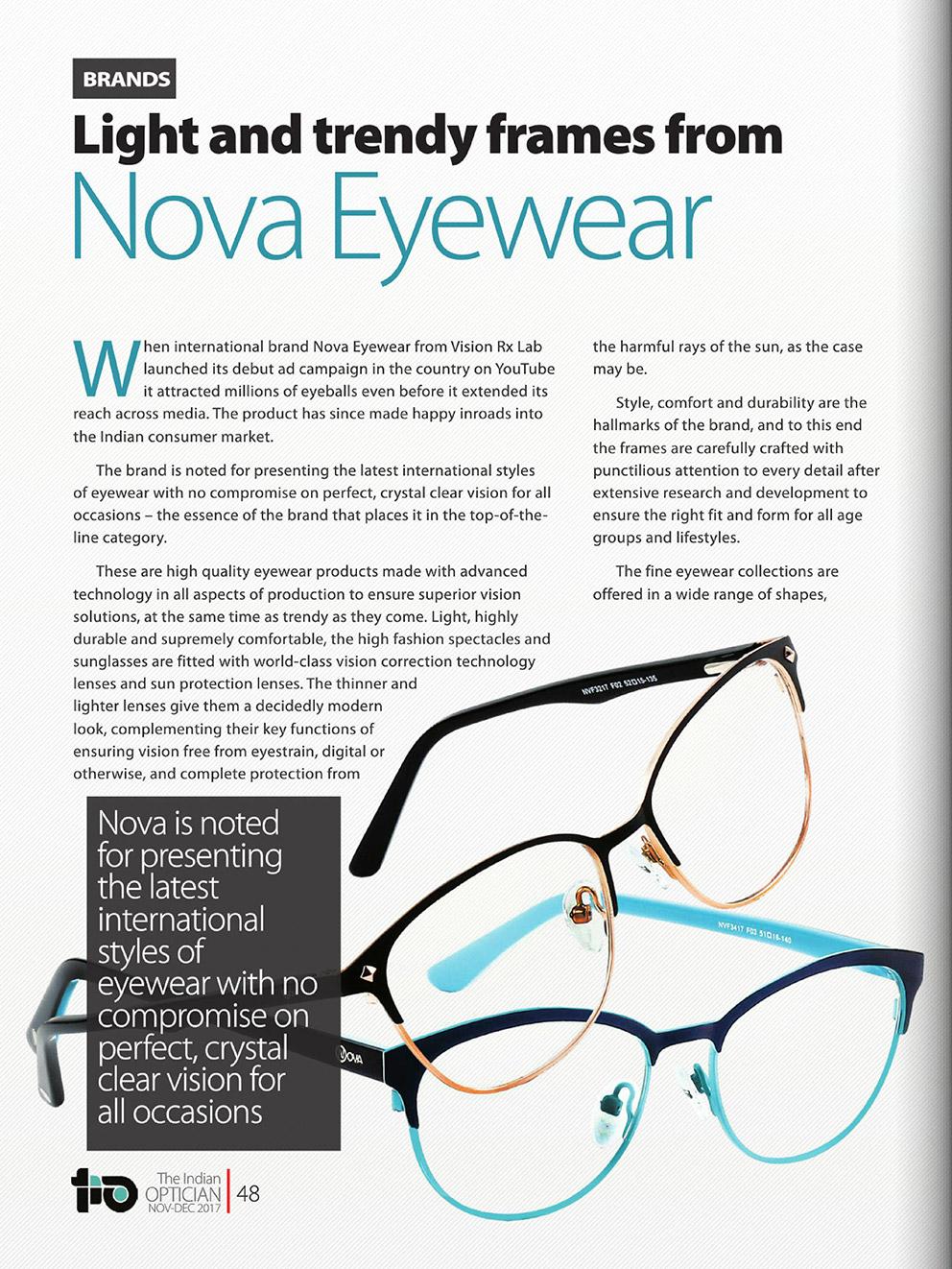Light and trendy frames from Nova Eyewear